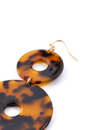 Detail View - Click To Enlarge - KENNETH JAY LANE - Tortoiseshell double circle drop earrings