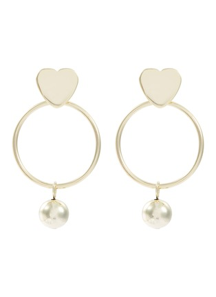 Main View - Click To Enlarge - KENNETH JAY LANE - Heart stud ball drop hoop earrings