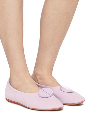 Figure View - Click To Enlarge - MERCEDES CASTILLO - 'Lena' oversized nailhead disc ruched suede ballerina flats