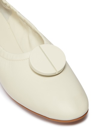 Detail View - Click To Enlarge - MERCEDES CASTILLO - 'Lena' oversized nailhead disc ruched leather ballerina flats