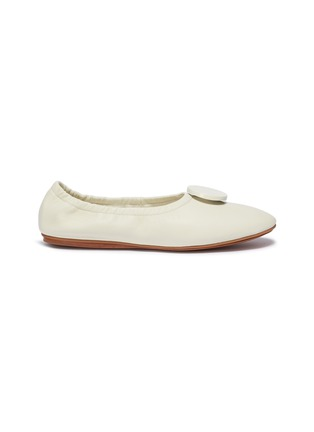 Main View - Click To Enlarge - MERCEDES CASTILLO - 'Lena' oversized nailhead disc ruched leather ballerina flats
