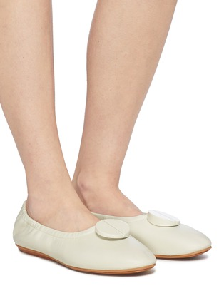 Figure View - Click To Enlarge - Mercedes Castillo - 'Lena' oversized nailhead disc ruched leather ballerina flats