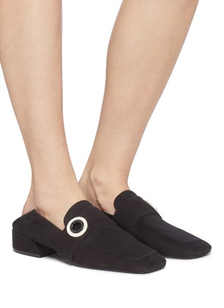 Figure View - Click To Enlarge - Mercedes Castillo - 'Emet' eyelet band suede step-in loafers