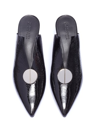 Detail View - Click To Enlarge - Mercedes Castillo - 'Ainsley' oversized nailhead disc leather mules