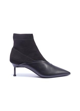 Main View - Click To Enlarge - MERCEDES CASTILLO - 'Kaelen' sock knit panel leather ankle boots