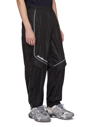 Front View - Click To Enlarge - JUUN.J - Slogan print contrast piping panelled track pants