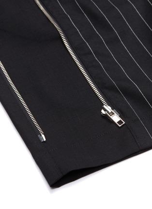 - JUUN.J - Zip outseam pinstripe front wool shorts