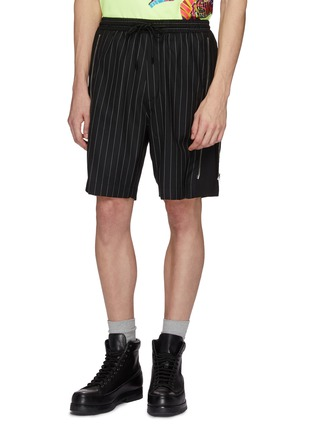 Front View - Click To Enlarge - JUUN.J - Zip outseam pinstripe front wool shorts