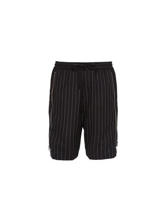 Main View - Click To Enlarge - JUUN.J - Zip outseam pinstripe front wool shorts
