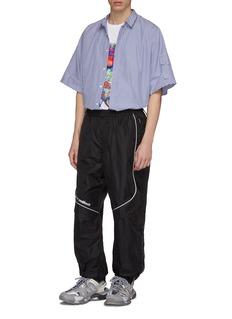Juun.J Inner zip sleeve stripe short sleeve shirt