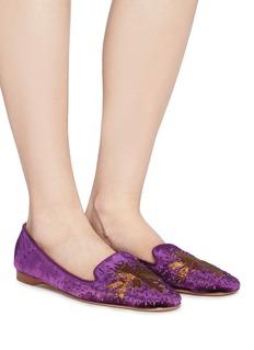 Emma Hope Star embroidered velvet loafers