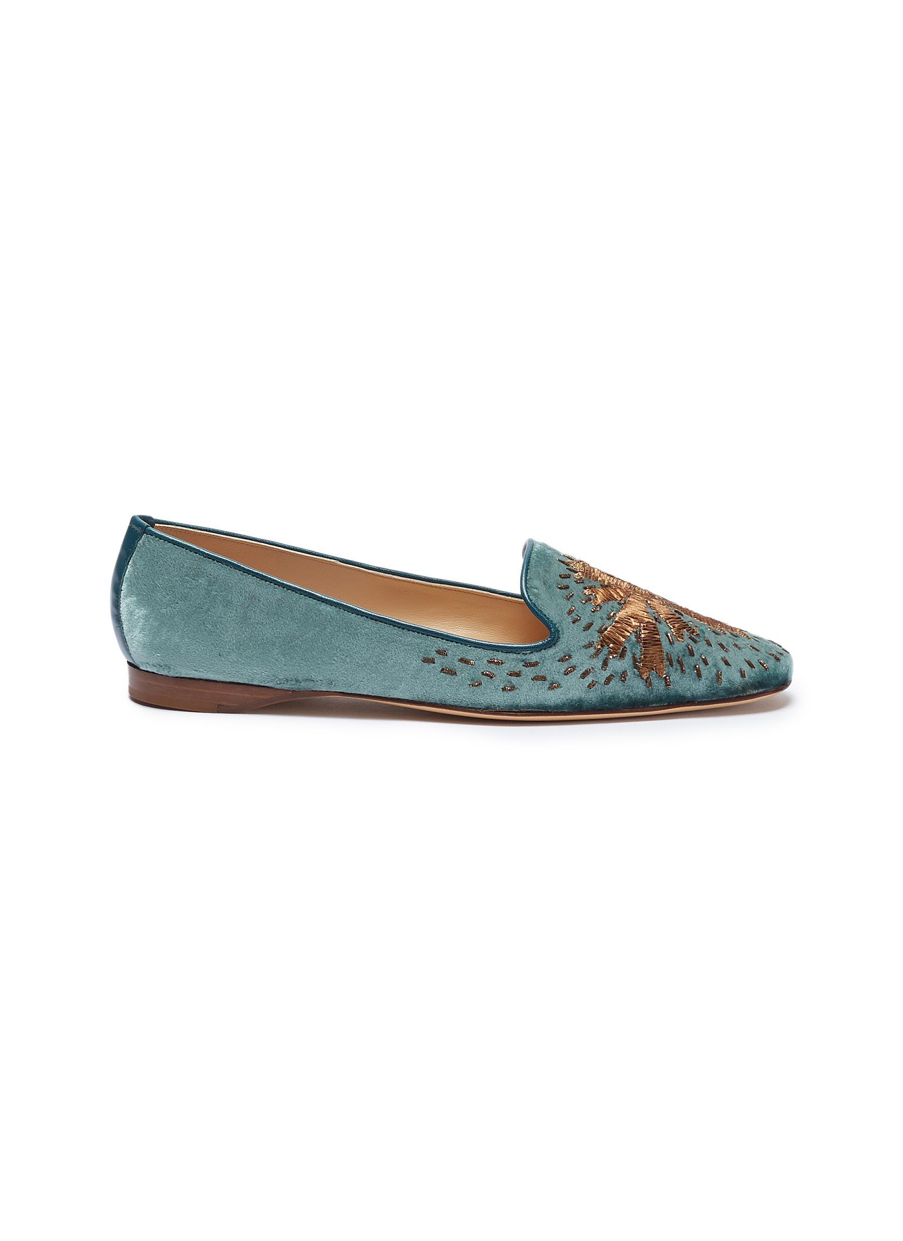 Star embroidered velvet loafers