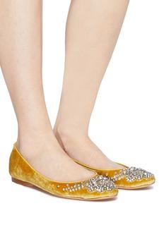 Emma Hope Glass crystal embellished velvet ballet flats