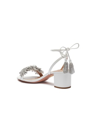 Detail View - Click To Enlarge - Aquazzura - 'Wild Crystal' strass fringe tassel tie leather sandals