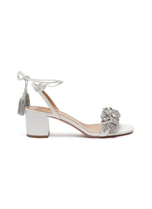 Main View - Click To Enlarge - Aquazzura - 'Wild Crystal' strass fringe tassel tie leather sandals