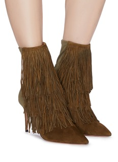 Aquazzura 'Shake' tiered fringe suede panel colourblock ankle boots