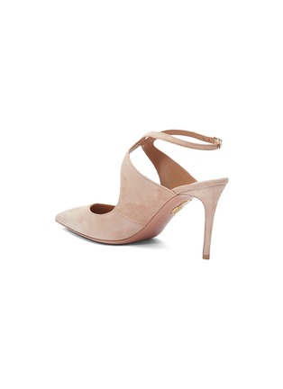 - Aquazzura - 'Talana' curve ankle strap suede pumps