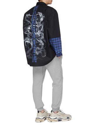 - VETEMENTS - 'Fusion' layered check plaid sleeve panel oversized unisex shirt