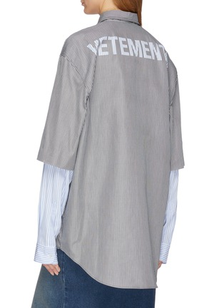 Back View - Click To Enlarge - VETEMENTS - Logo print layered sleeve unisex shirt