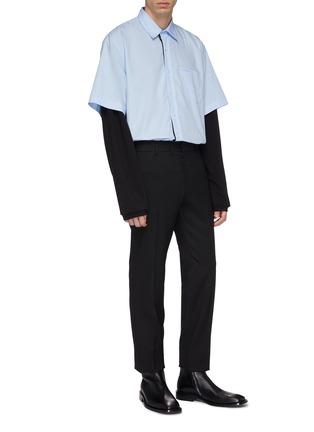 - VETEMENTS - 'Happiness' print layered jersey sleeve panel oversized unisex shirt