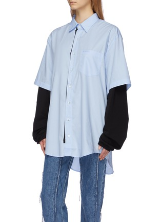 Front View - Click To Enlarge - VETEMENTS - 'Happiness' print layered jersey sleeve panel oversized unisex shirt