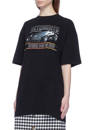Front View - Click To Enlarge - Vetements - 'Car Hotline' slogan graphic print oversized unisex T-shirt