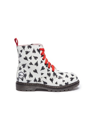 Main View - Click To Enlarge - WINK - 'Cookie' heart print leather kids combat boots