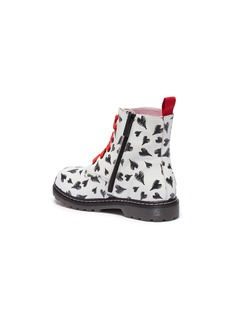 WiNK 'Cookie' heart print leather kids combat boots