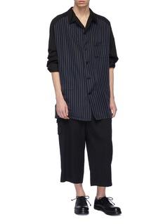 Yohji Yamamoto Flap pocket pleated wool twill wide leg pants