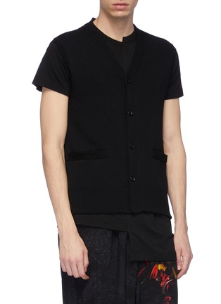 Front View - Click To Enlarge - Yohji Yamamoto - Distressed macramé lace back knit vest