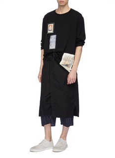 Yohji Yamamoto Contrast overlay wrap pinstripe pants