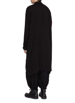 Back View - Click To Enlarge - Yohji Yamamoto - Floral lady print high-low shirt coat