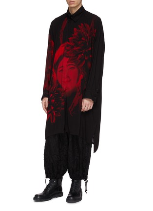 Front View - Click To Enlarge - Yohji Yamamoto - Floral lady print high-low shirt coat