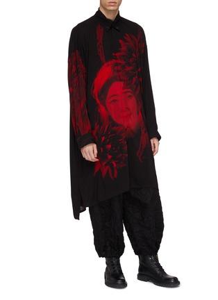 Figure View - Click To Enlarge - YOHJI YAMAMOTO - Floral lady print high-low shirt coat