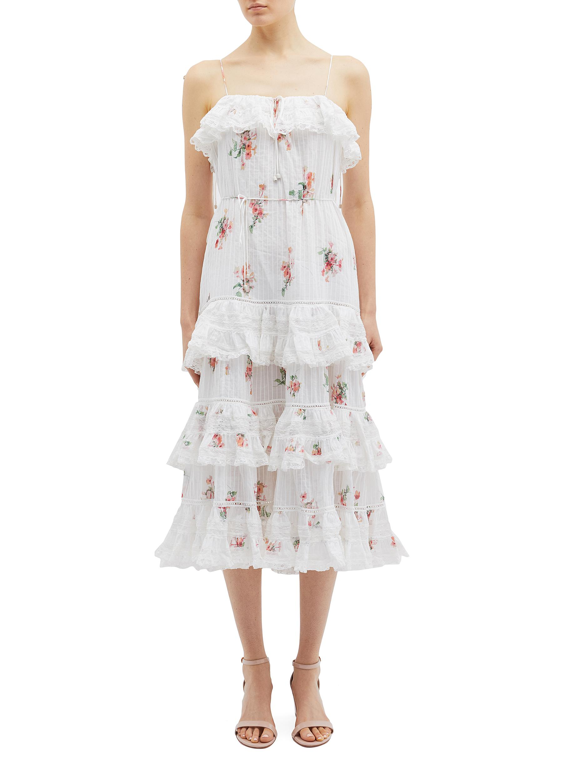 Heathers floating bouquet print tiered ruffle camisole dress by Zimmermann