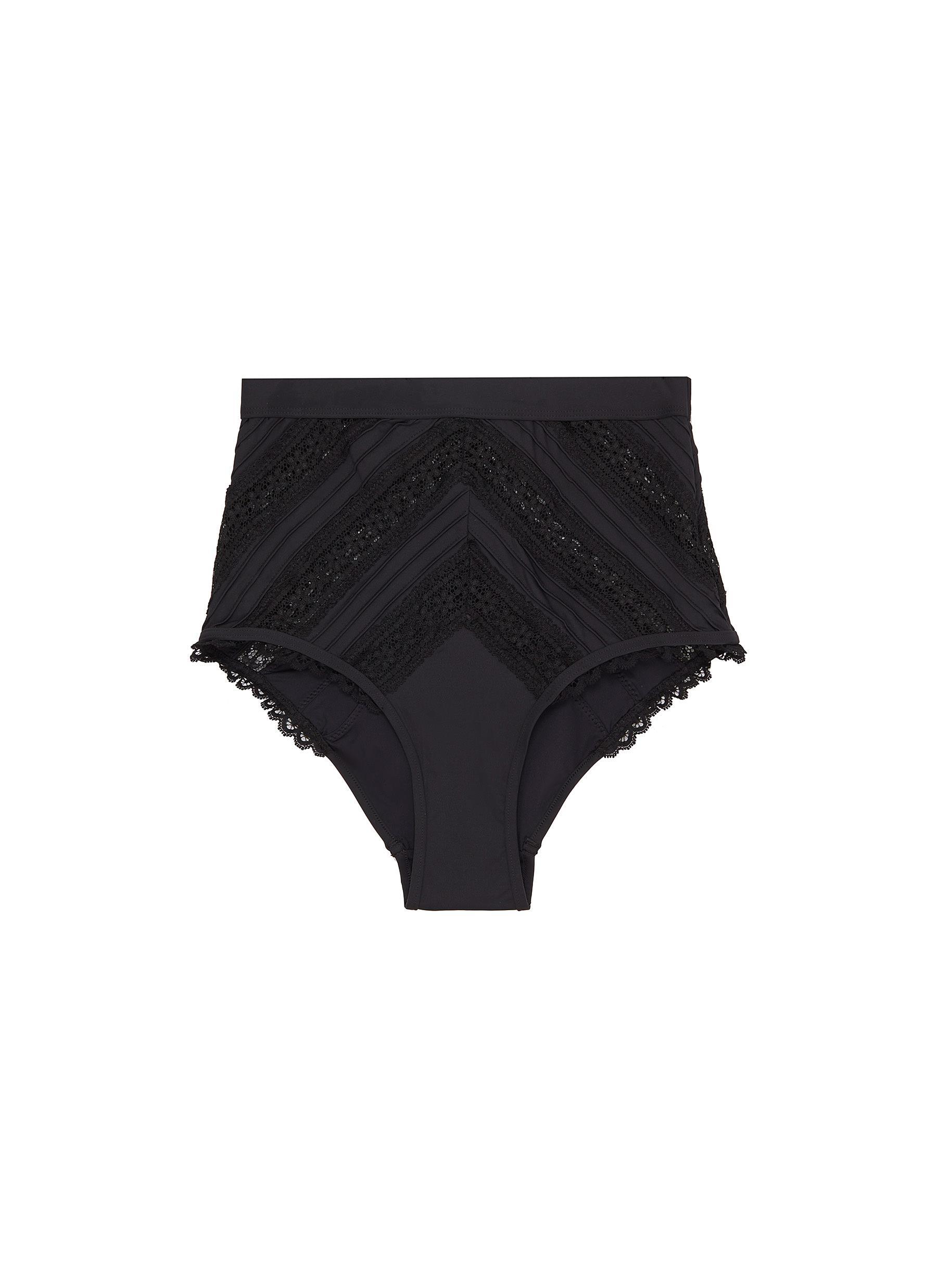 Heathers lace stripe high waist bikini bottoms by Zimmermann
