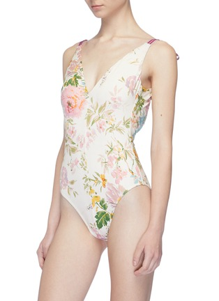 Figure View - Click To Enlarge - Zimmermann - 'Heathers' tie shoulder garden floral print one-piece swimsuit