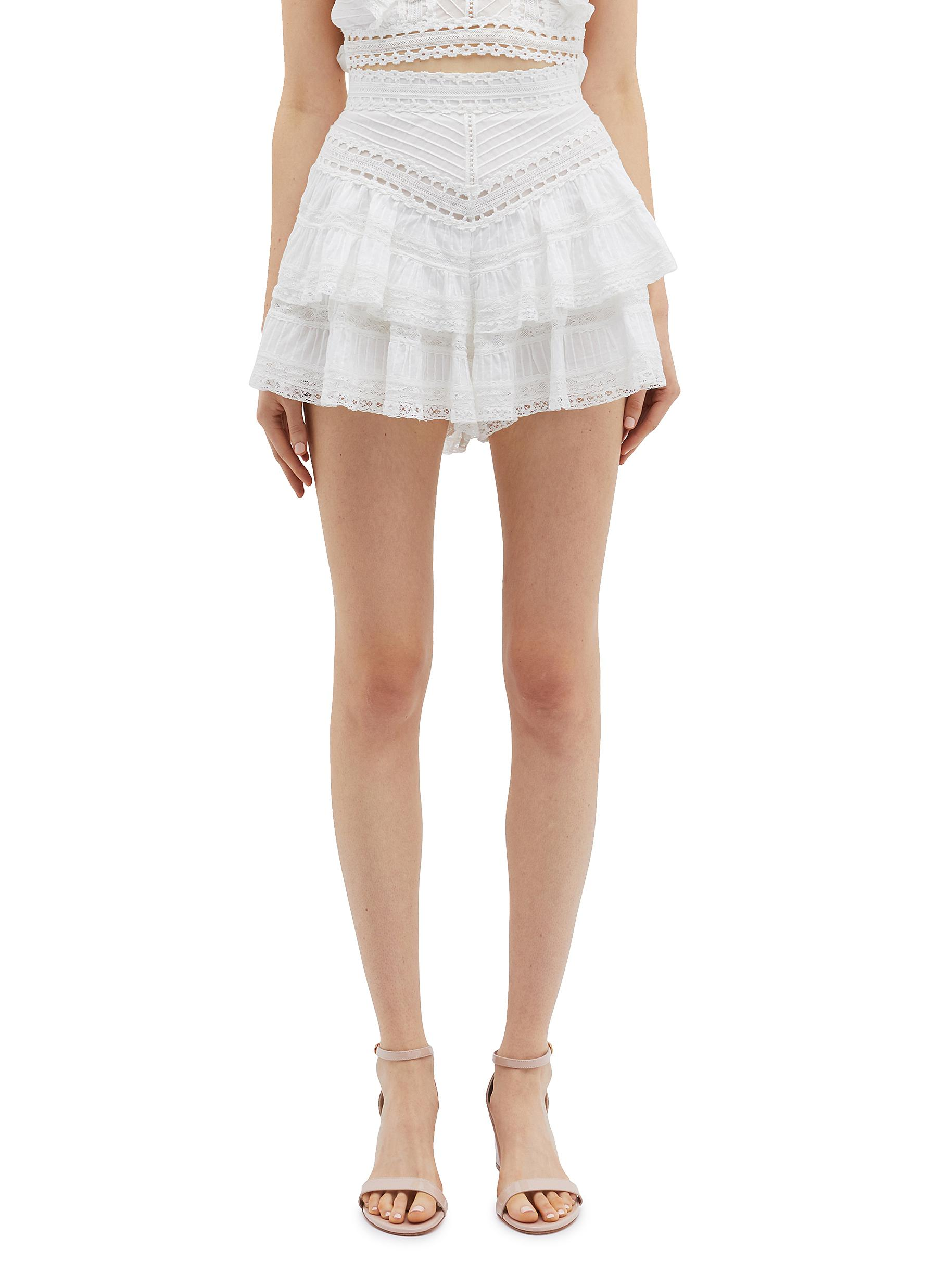 Heathers tiered ruffle lace shorts by Zimmermann
