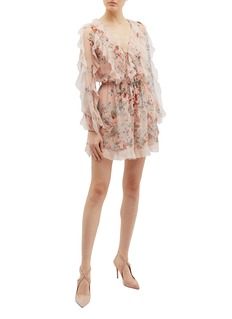 Zimmermann 'Bowie Frill' belted ruffle floral print silk rompers