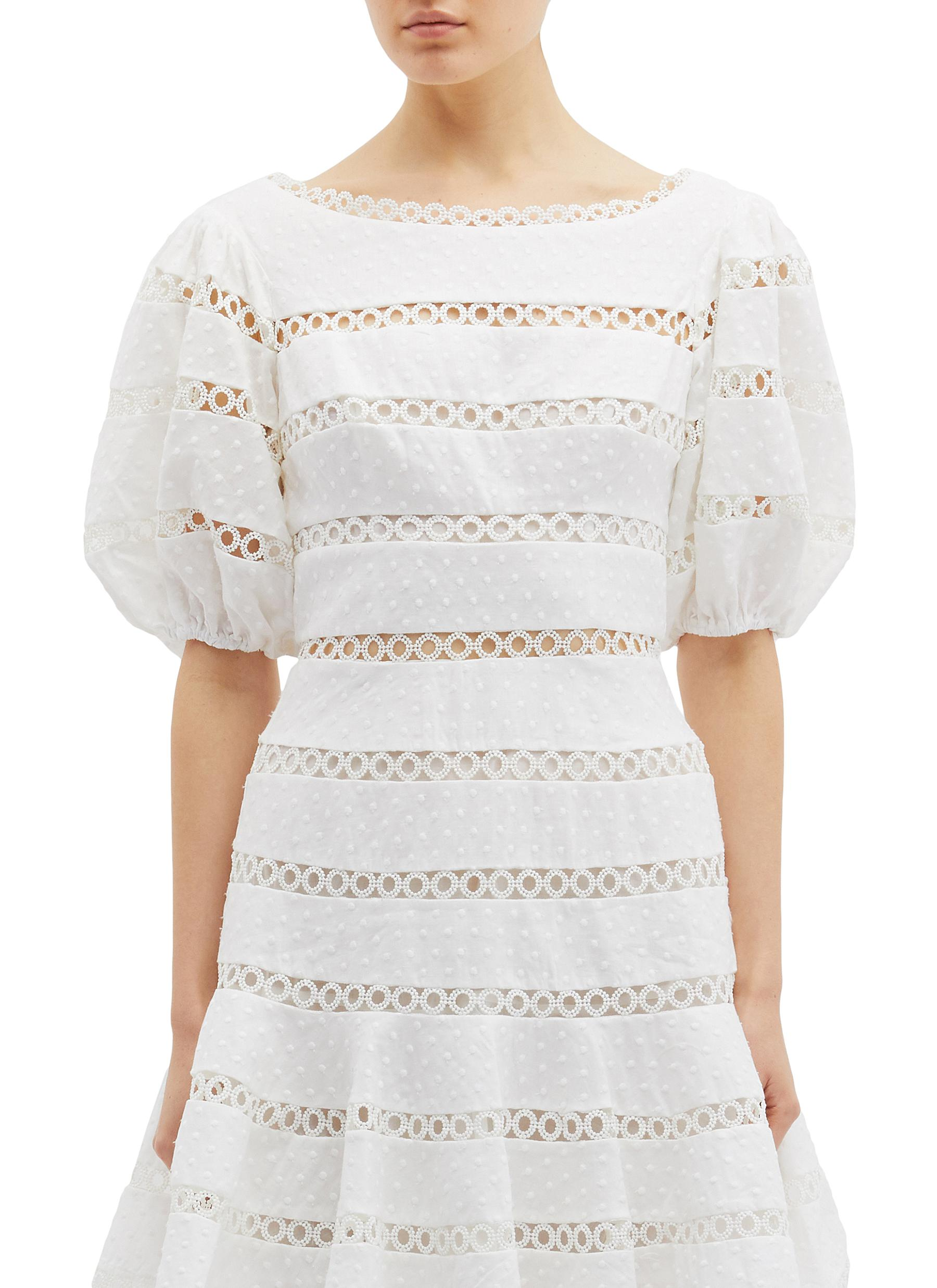 Bowie Contour Hailspot cutout stripe linen-cotton dress by Zimmermann