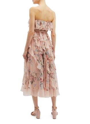 Back View - Click To Enlarge - ZIMMERMANN - 'Bowie Waterfall' ruffle floral print silk strapless dress