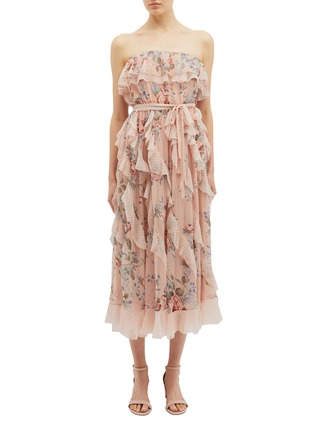 Main View - Click To Enlarge - ZIMMERMANN - 'Bowie Waterfall' ruffle floral print silk strapless dress