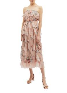 Zimmermann 'Bowie Waterfall' ruffle floral print silk strapless dress