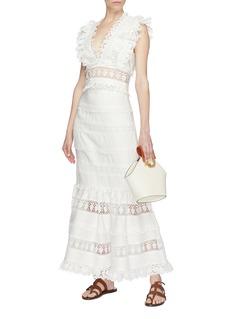 Zimmermann 'Wayfarer' lace trim linen peplum skirt