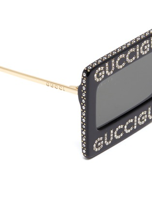 Detail View - Click To Enlarge - GUCCI - Glass crystal logo acetate frame front square sunglasses