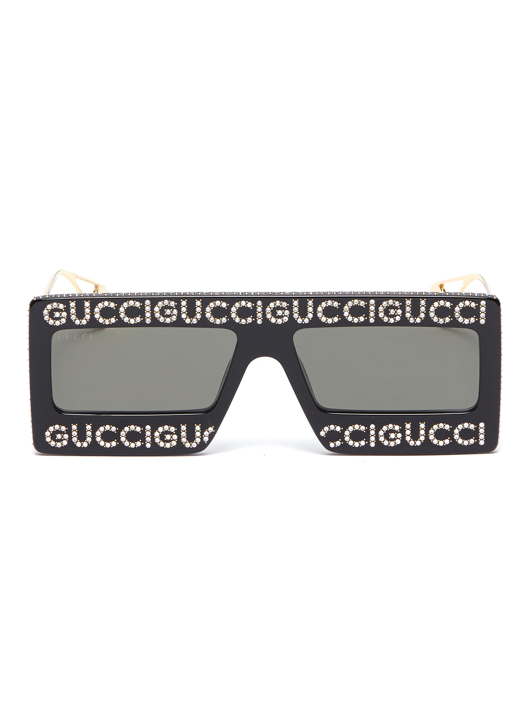 c4c272f4c28 Gucci. Glass crystal logo acetate frame front square sunglasses