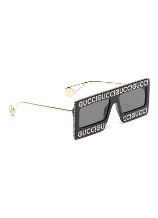 Figure View - Click To Enlarge - GUCCI - Glass crystal logo acetate frame front square sunglasses