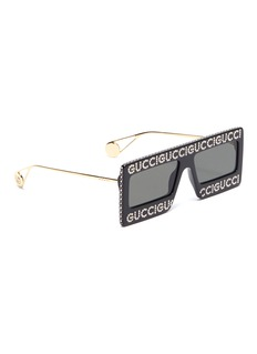 Gucci Glass crystal logo acetate frame front square sunglasses