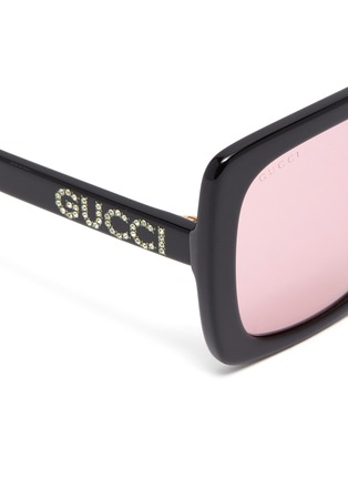 Detail View - Click To Enlarge - GUCCI - Glass crystal logo acetate square sunglasses