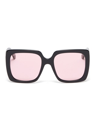 Main View - Click To Enlarge - GUCCI - Glass crystal logo acetate square sunglasses